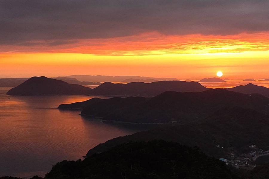 碁石山からの夕陽